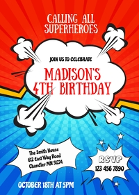 Comic Superheroes birthday invitation