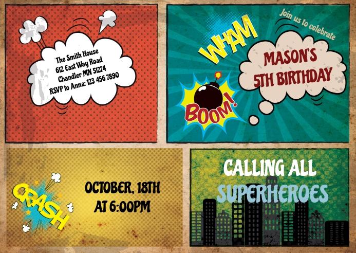 Comic superheroes birthday invitation