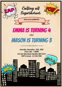 Comic superheroes joint birthday invitation A6 template