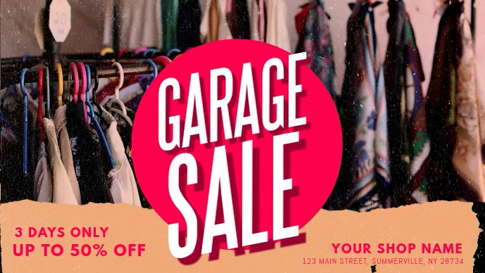 Commercial Garage Sale Banner Video วิดีโอหน้าปก Facebook (16:9) template