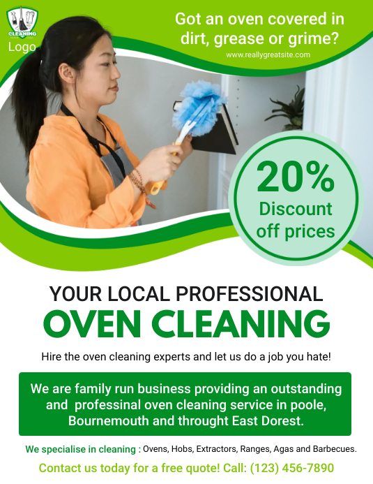 Commercial Oven Cleaner Service Ad Folder (US Letter) template