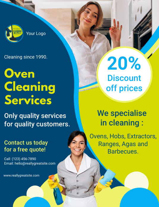 Commercial Oven Cleaner Service Advertisement Løbeseddel (US Letter) template