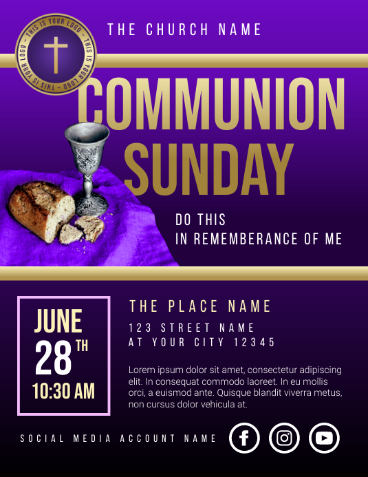 communion sunday Flyer (Letter pang-US) template