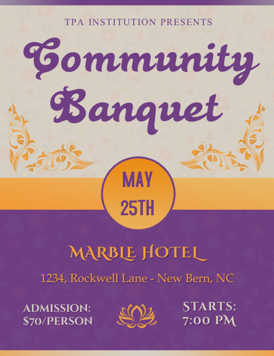 community banquet flyer template postermywall