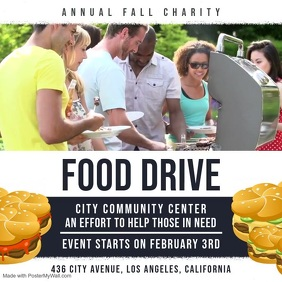 Community Food Drive Video Ad Square (1:1) template