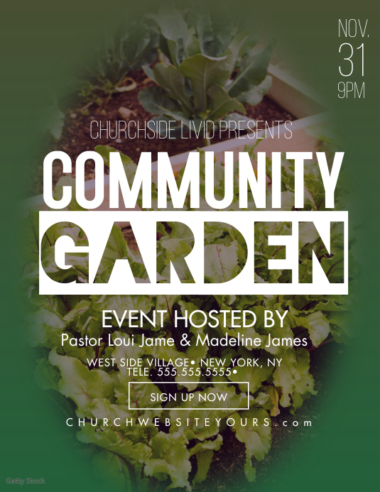 Community Garden Church Event Flyer Volante (Carta US) template