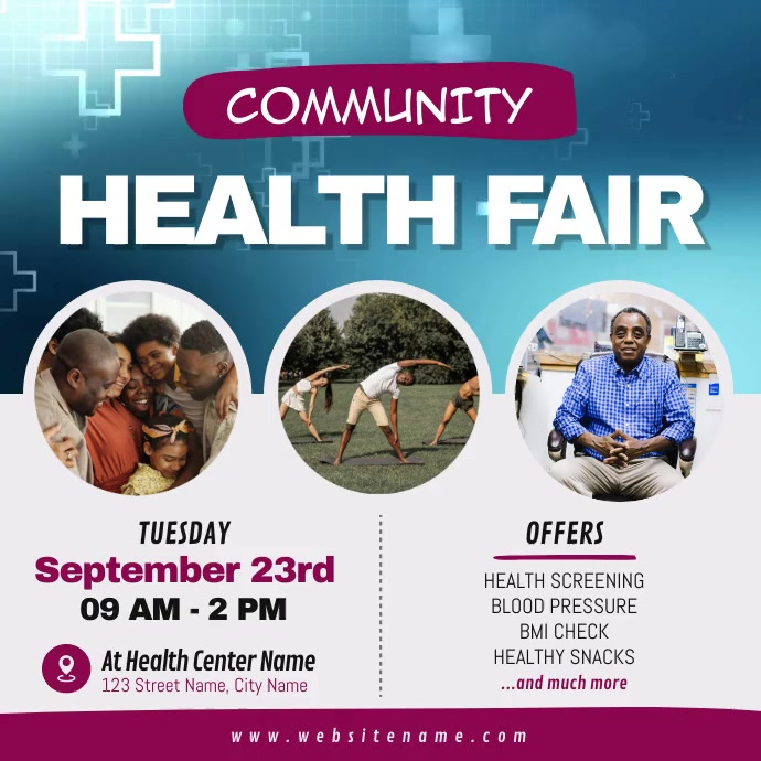 Community Health Fair Square Video Carré (1:1) template
