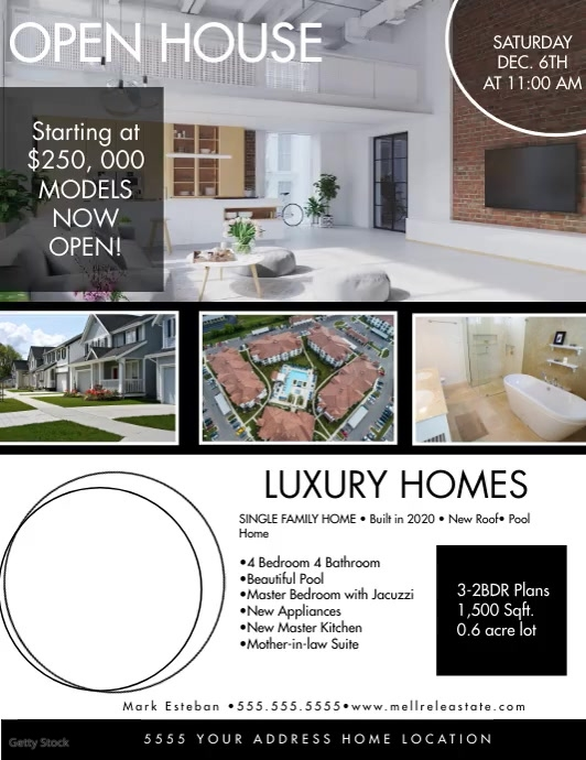Community Open House Luxury Home Flyer Brow Pamflet (VSA Brief) template