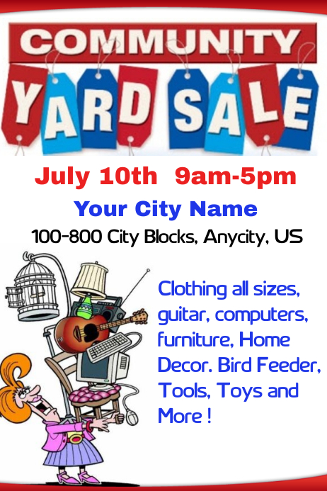 Community Yard Sale Template Postermywall