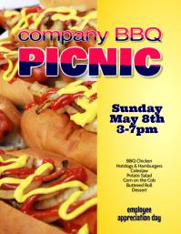 company barbecue bbq picnic Hotdog Flyer Template