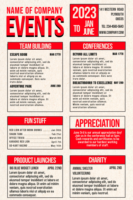 Company Events Poster Template