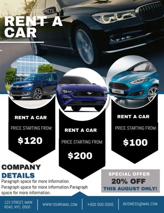 Company Rent a Car Flyer template