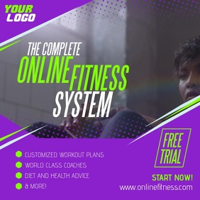 Complete Online Fitness System Woman ad Post Instagram template