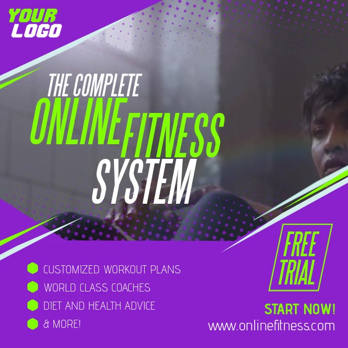 Complete Online Fitness System Woman ad Pos Instagram template