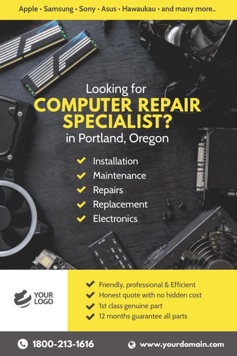 Computer Laptop Repair Specialist Poster template