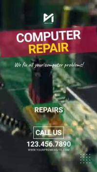 Computer Laptop Service & Repairs Video Ad Digital Display (9:16) template