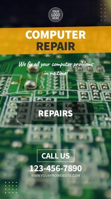 Computer Laptop Service & Repairs Video Insta Digital Display (9:16) template