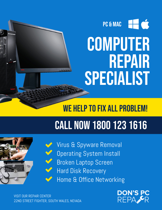 Computer Repair & Services Flyer Template Volante (Carta US)