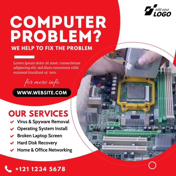 Computer Repair Ad โพสต์บน Instagram template