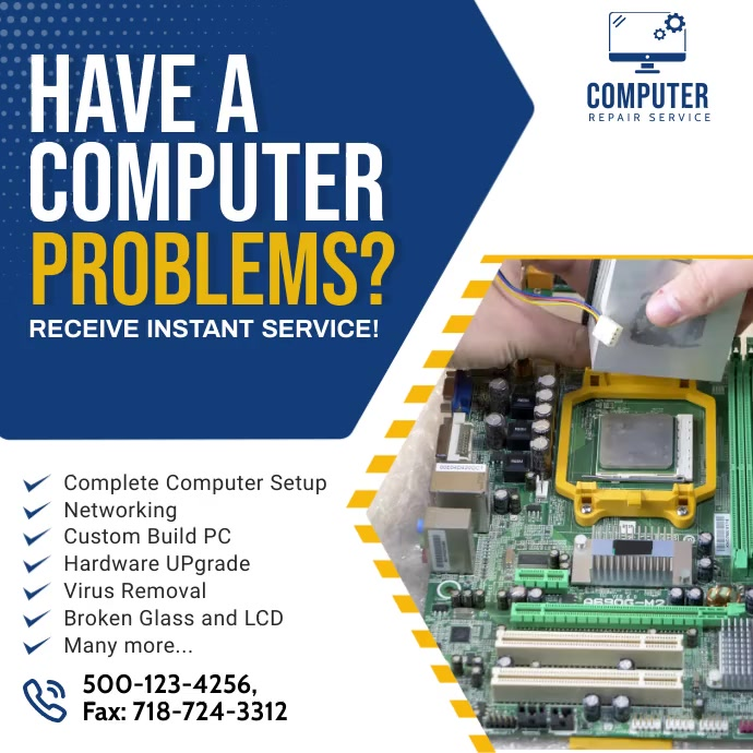 Computer Repair Ad Social Media Post template