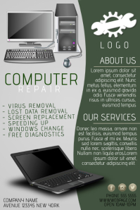 computer repair business company flyer template