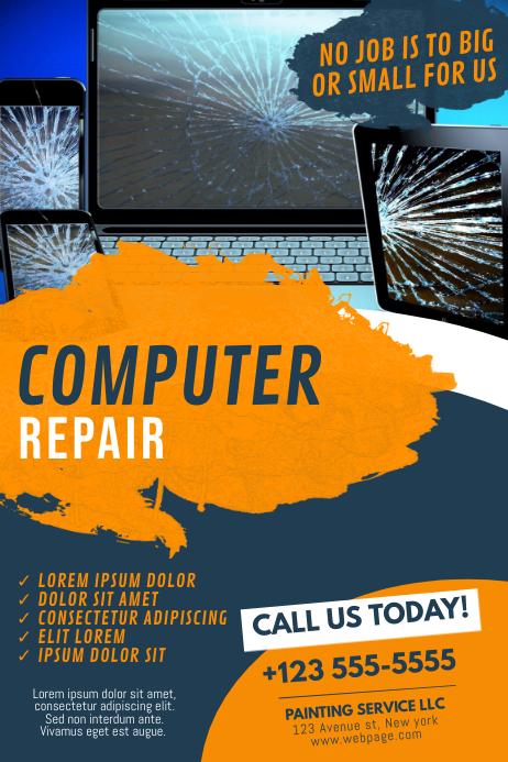 Computer repair business flyer template