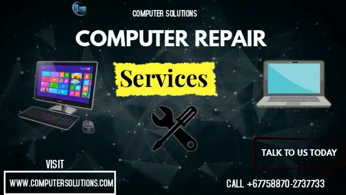 computer repair Facebook-omslagvideo (16:9) template