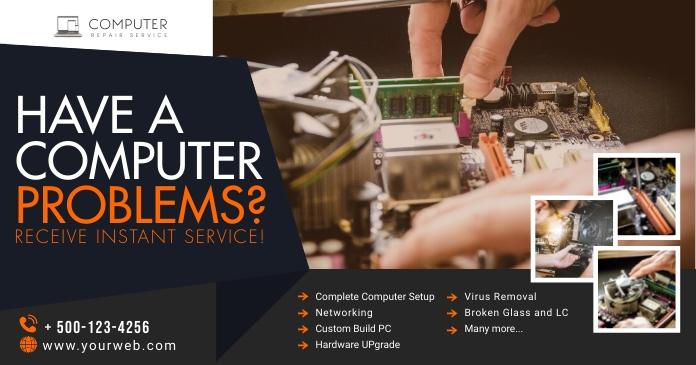 Computer Repair Facebook Post template