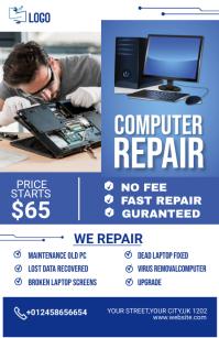 computer repair flyer Kalahating pahina na Wide template