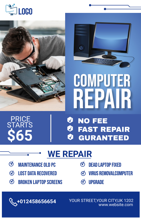 computer repair flyer Half Page Wide template