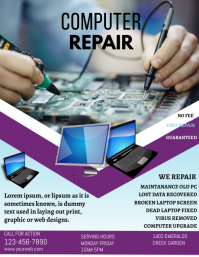 COMPUTER REPAIR FLYER DESIGN ใบปลิว (US Letter) template
