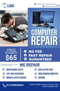 computer repair flyer Bannière 4' × 6' template