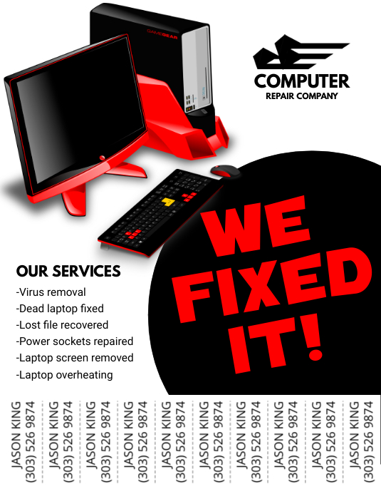 copy of computer repair flyer postermywall. Black Bedroom Furniture Sets. Home Design Ideas