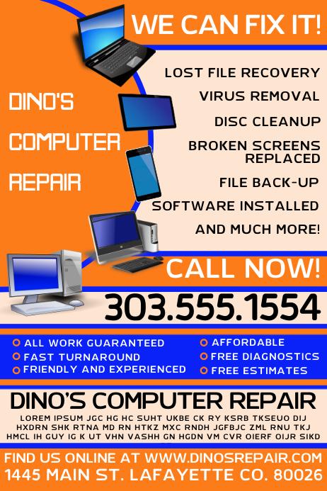 Computer Repair Template Postermywall