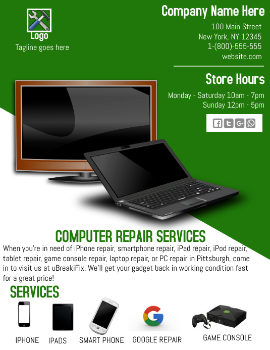 Computer Repair Flyer (Letter pang-US) template