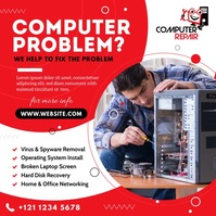 Computer Repair Service Ad Instagram Post template