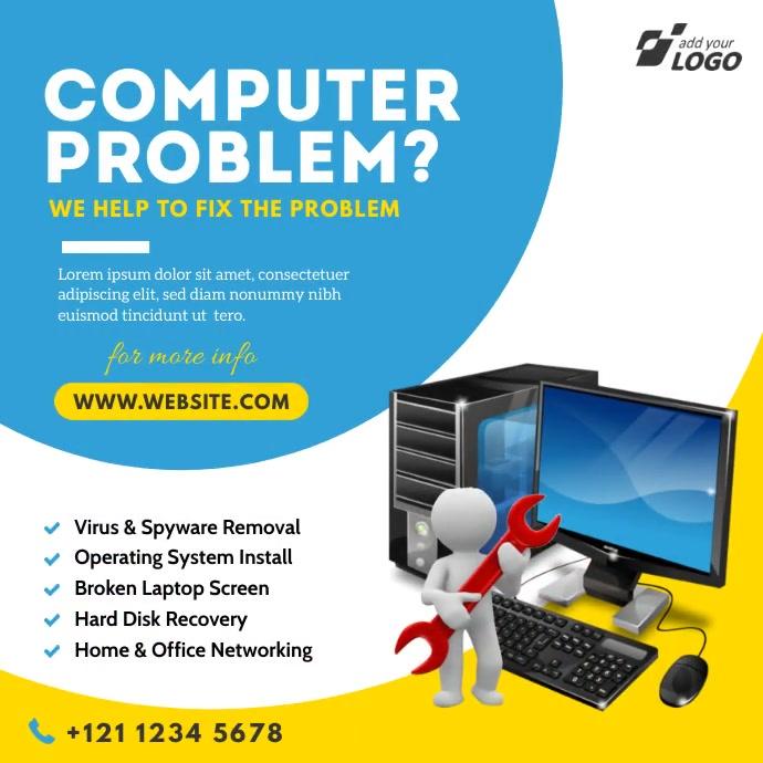 Computer Repair Service Ad Pos Instagram template