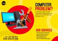 Computer Repair Service Ad Postcard template