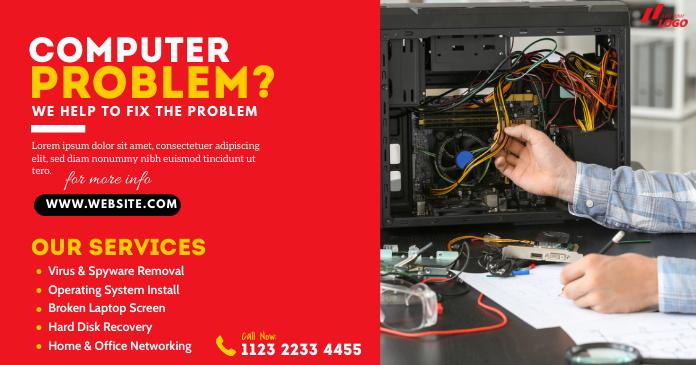 Computer Repair Services Ad Gedeelde afbeelding op Facebook template