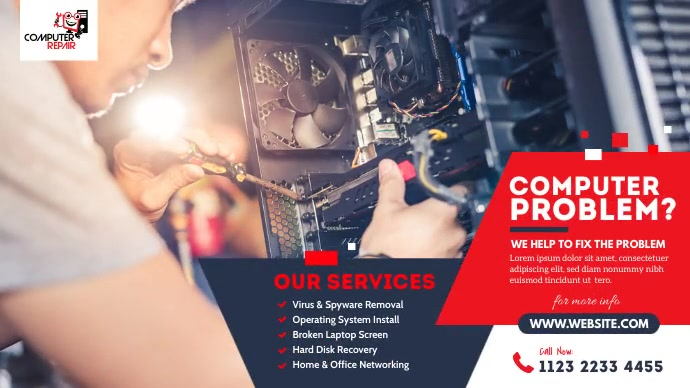 Computer Repair Services Ad Pos Twitter template