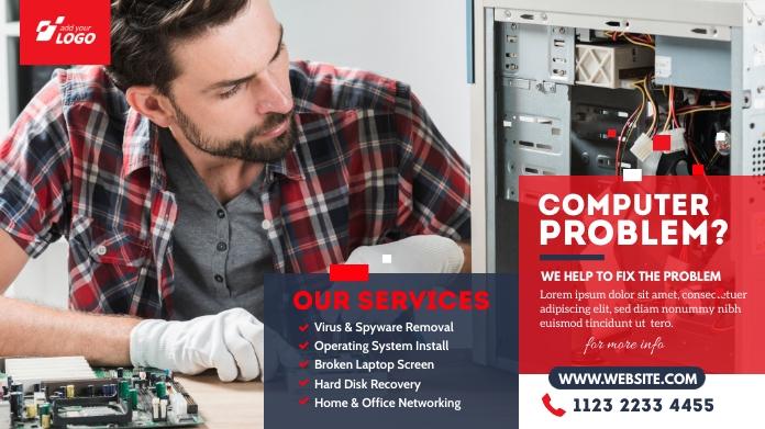 Computer Repair Services Ad Twitter-bericht template