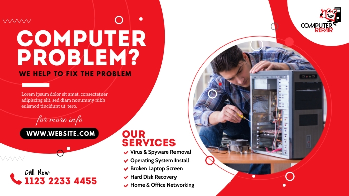 Computer Repair Services Pos Twitter template
