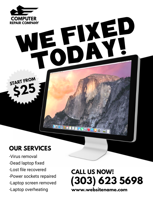 Computer Repair Services Flyer ใบปลิว (US Letter) template