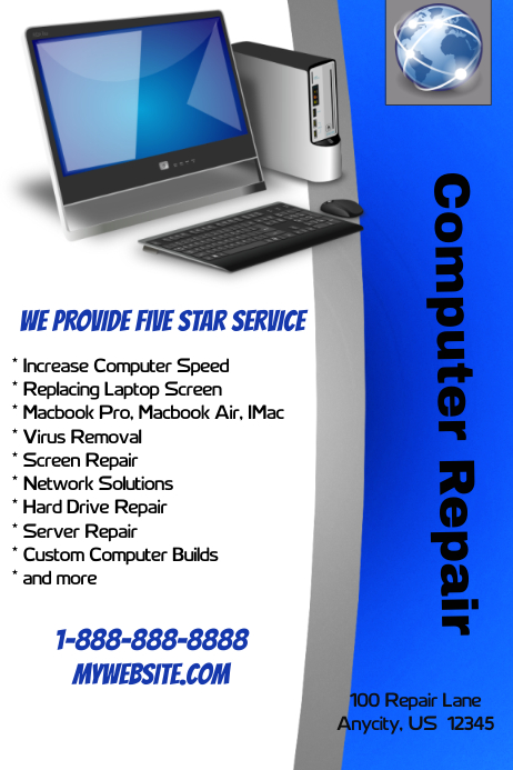 Computer Repair Shop Template | Postermywall