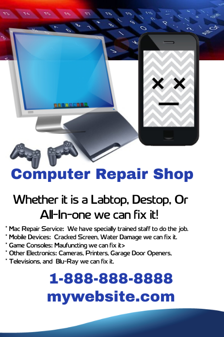 Computer Repair Shop Flyer Cartaz template