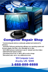 Computer Repair Shop Flyer Poster template
