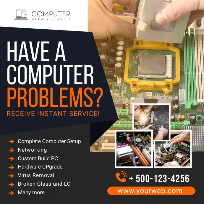 Computer Repair Social Media Post Banner template
