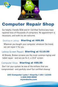 Computer Repsir Shop Poster template