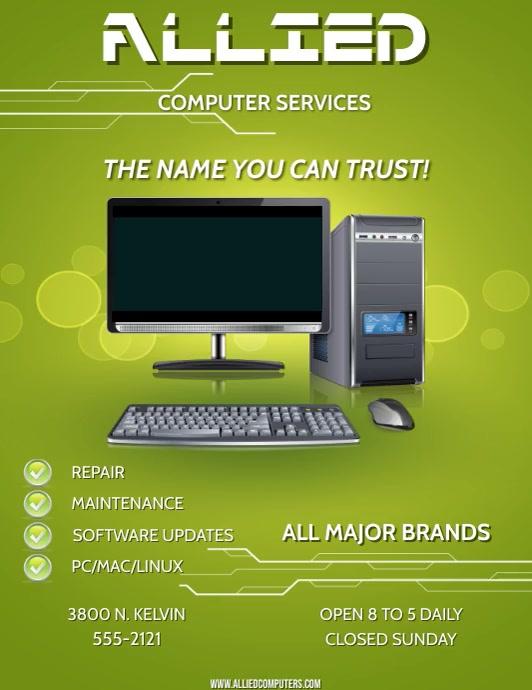 COMPUTER SERVICE Folder (US Letter) template