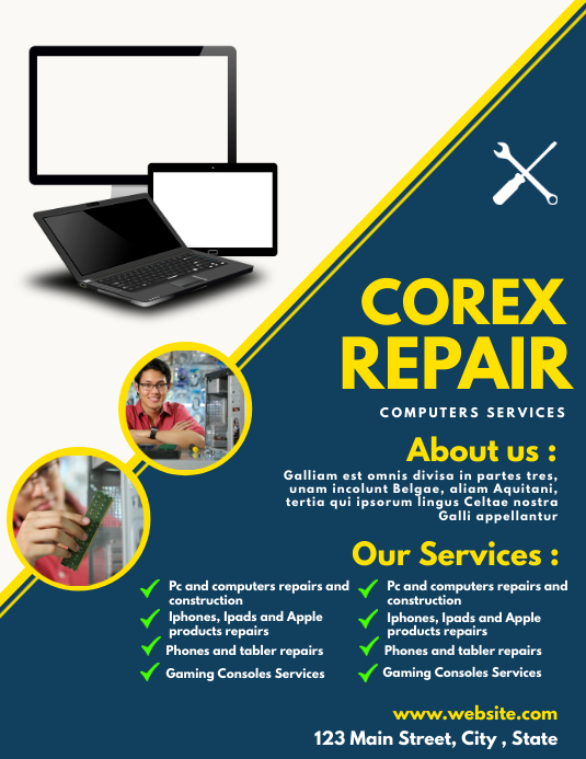 computer services flyer design template